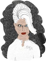 Alte runzelige Frau mit Hochsteckfrisur